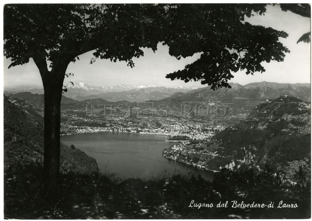 Panoramic view of Lugano from Canzo (Como), ca. 1950-1952 (photographer unknown)