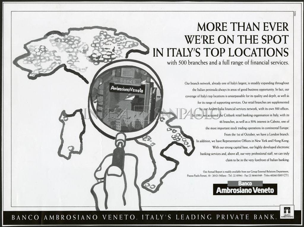 Banco Ambrosiano Veneto, advertisement showcasing the bank's international network, 1988