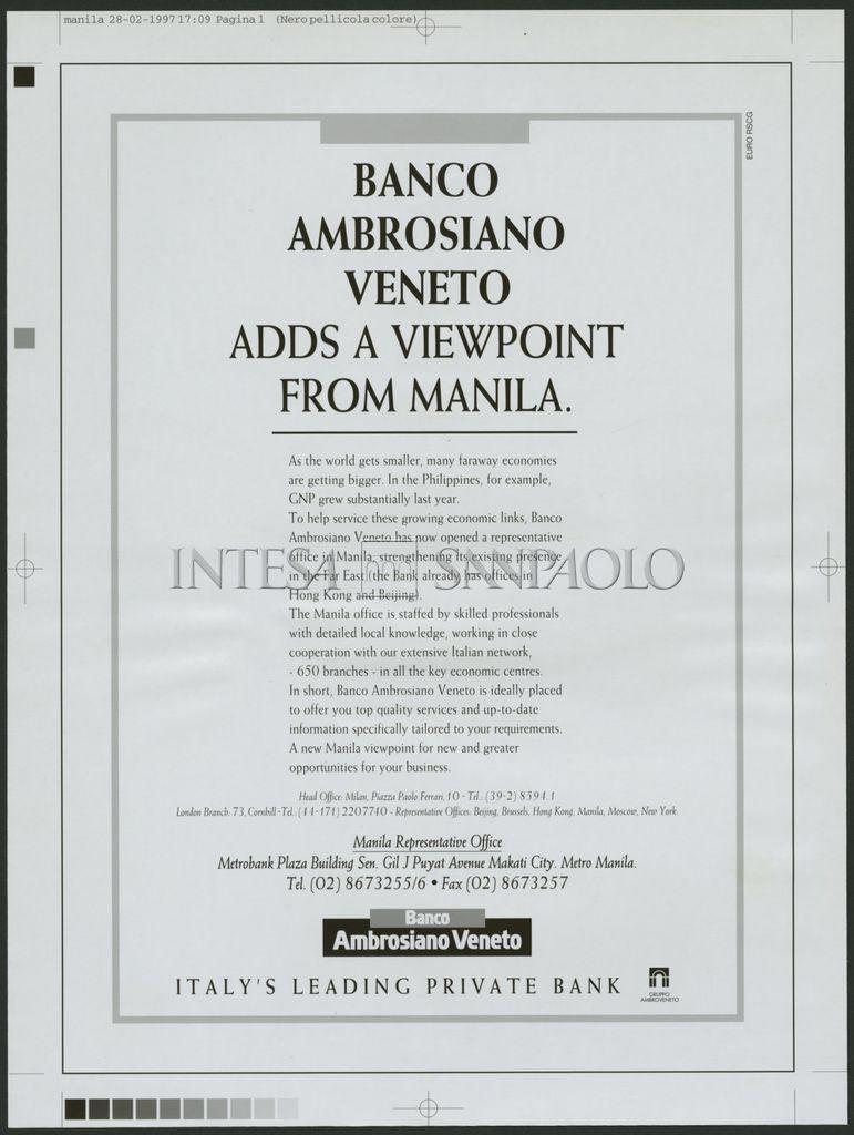 Banco Ambrosiano Veneto, advertisement to publicize the bank's Manila representative office, 28 February 1997