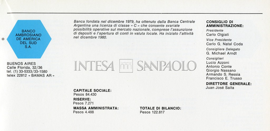 Banco Ambrosiano de América del Sud SA, infographic showing key facts and figures on the subsidiary, taken from a Banco Ambrosiano Group brochure dated 1980-1981