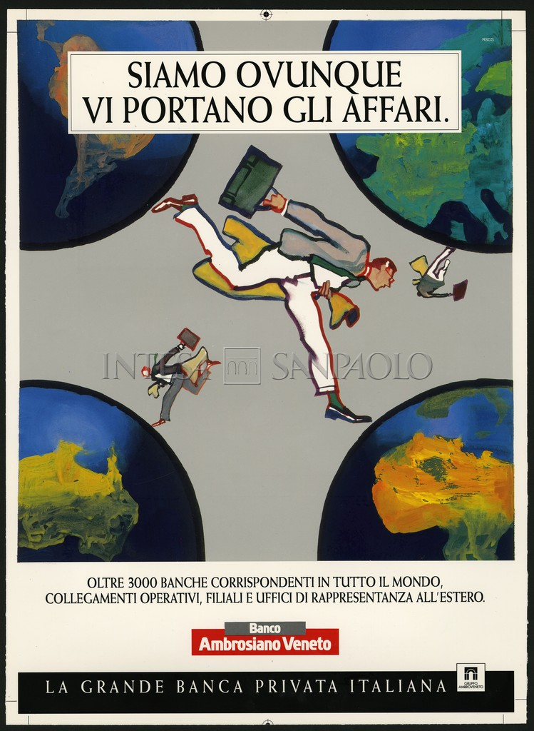 Banco Ambrosiano Veneto, a 1994 advertisement for the foreign press (illustration by Ferenc Pintér)