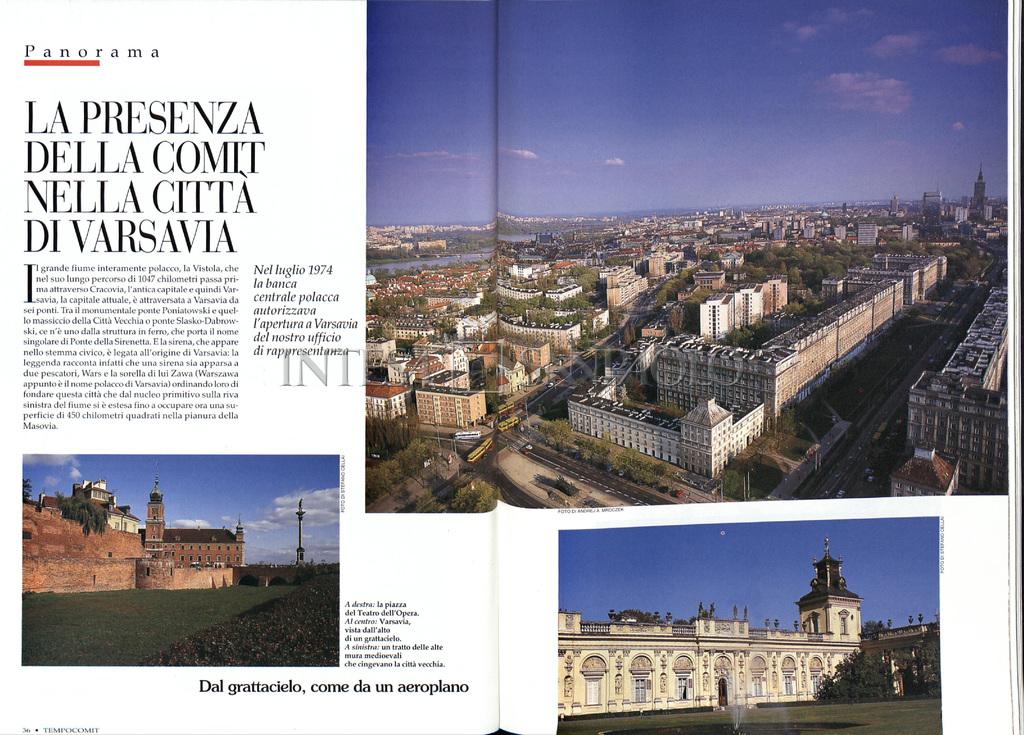 """""""La presenza della Comit nella città di Varsavia, article from the house organ """"TempoComit"""", 1998, n. 25, pp. 36-37"""