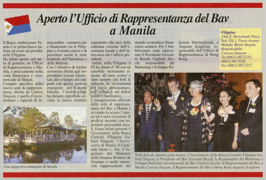 """""""Aperto l'Ufficio di Rappresentanza del Bav a Manila"""", article from the House Organ """"Ambroveneto"""", 1997, n. 2, p. 5"""