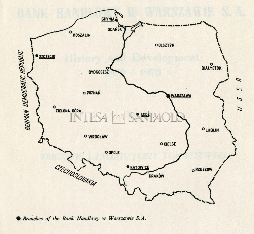 "Bank Handlowy w Warszawie, diagram of the bank's local network taken from the book ""Bank Handlowy w Warszawie SA. History and development 1870-1970"", 1970, p. 3"
