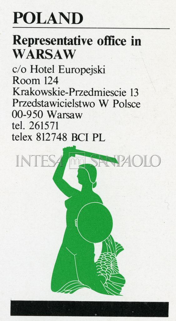 """Banca Commerciale Italiana, advertisement for the bank's Warsaw representative office, taken from the book """"Domestic and foreign activities in 1977"""", 1978, p. 34"""
